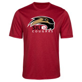 Performance Red Heather Contender Tee-SIUE Cougars Official Logo