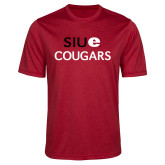 Performance Red Heather Contender Tee-SIUE Cougars Stacked