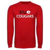Red Long Sleeve T Shirt-SIUE Cougars Stacked