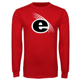 Red Long Sleeve T Shirt-e Slash Mark