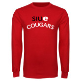 Red Long Sleeve T Shirt-SIUE Arched Cougars