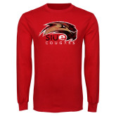 Red Long Sleeve T Shirt-SIUE Cougars Official Logo Distressed