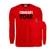 Red Long Sleeve T Shirt-Cougars Roar