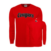 Red Long Sleeve T Shirt-Distressed Scripted Cougars