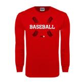 Red Long Sleeve T Shirt-Baseball Seams