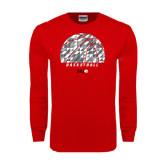 Red Long Sleeve T Shirt-Basketball Texture Ball
