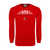 Red Long Sleeve T Shirt-Basketball Half Ball