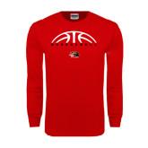 Red Long Sleeve T Shirt-Basketball Half Ball