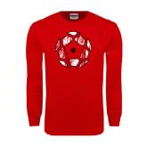 Red Long Sleeve T Shirt-Geometric Soccer Ball