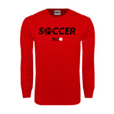 Red Long Sleeve T Shirt-Soccer Halftone Ball