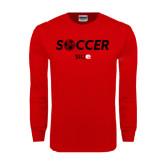 Red Long Sleeve T Shirt-Soccer Halftone Ball
