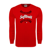 Red Long Sleeve T Shirt-Softball Seams