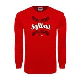 Red Long Sleeve T Shirt-Softball Seams