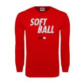 Red Long Sleeve T Shirt-Softball Polygon Text