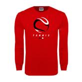 Red Long Sleeve T Shirt-Abstract Tennis Ball