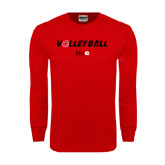 Red Long Sleeve T Shirt-Volleyball w/ Ball