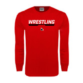 Red Long Sleeve T Shirt-Wrestling Bar