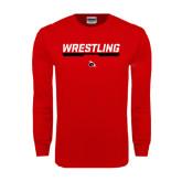 Red Long Sleeve T Shirt-Wrestling Bar