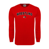 Red Long Sleeve T Shirt-Wrestling Arched