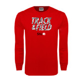 Red Long Sleeve T Shirt-Track and Field Polygon Texture