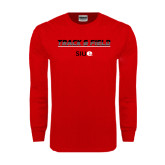 Red Long Sleeve T Shirt-Track and Field Lines