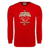 Red Long Sleeve T Shirt-2016 Womens Tennis Conference Champions
