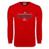 Red Long Sleeve T Shirt-2016 Womens Volleyball Champions