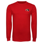 Red Long Sleeve T Shirt-SIUE Cougars Official Logo