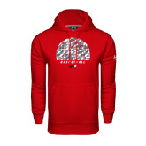 Under Armour Red Performance Sweats Team Hoodie-Basketball Texture Ball