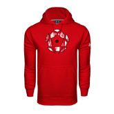 Under Armour Red Performance Sweats Team Hoodie-Geometric Soccer Ball