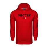 Under Armour Red Performance Sweats Team Hoodie-Soccer Halftone Ball