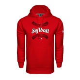 Under Armour Red Performance Sweats Team Hoodie-Softball Seams