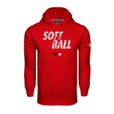 Under Armour Red Performance Sweats Team Hoodie-Softball Polygon Text