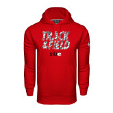 Under Armour Red Performance Sweats Team Hoodie-Track and Field Polygon Texture