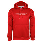 Under Armour Red Performance Sweats Team Hoodie-Institutional Mark
