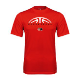 Syntrel Performance Red Tee-Basketball Half Ball