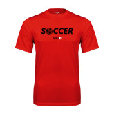 Syntrel Performance Red Tee-Soccer Halftone Ball