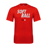 Performance Red Tee-Softball Polygon Text