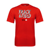 Performance Red Tee-Track and Field Polygon Texture