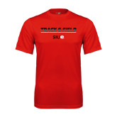 Performance Red Tee-Track and Field Lines