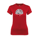 Ladies Syntrel Performance Red Tee-Basketball Texture Ball