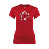 Ladies Syntrel Performance Red Tee-Geometric Soccer Ball
