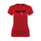Ladies Syntrel Performance Red Tee-Soccer Halftone Ball
