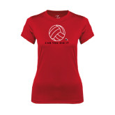 Ladies Syntrel Performance Red Tee-Volleyball Can You Dig It