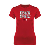 Ladies Syntrel Performance Red Tee-Track and Field Polygon Texture