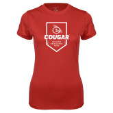 Ladies Syntrel Performance Red Tee-Gold E
