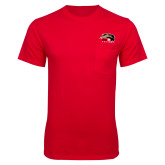 Red T Shirt w/Pocket-SIUE Cougars Official Logo