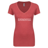 Next Level Ladies Vintage Red Tri Blend V Neck Tee-Institutional Mark