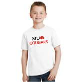 Youth White T Shirt-SIUE Cougars Stacked