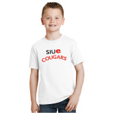 Youth White T Shirt-SIUE Arched Cougars